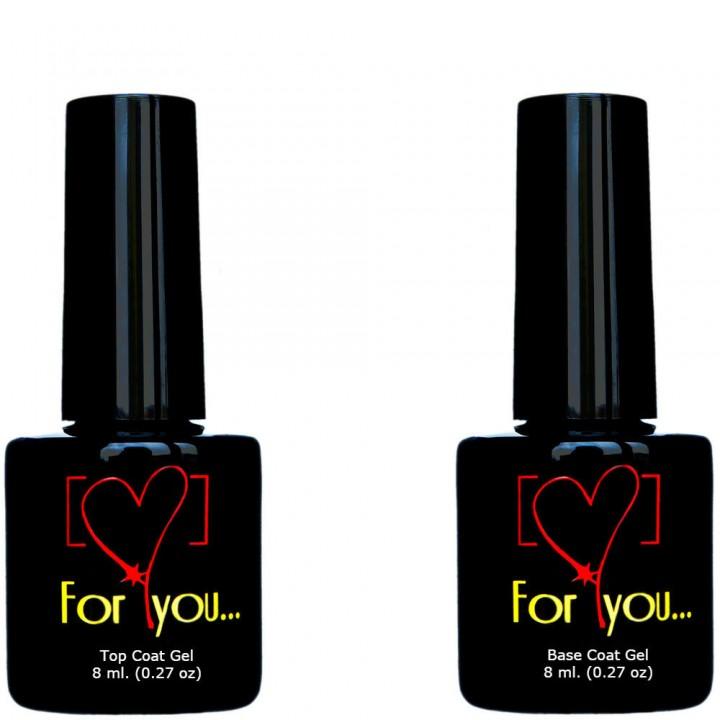 Базовый гель + Топ гель для ногтей FOR YOU 8+8 мл. или 15+15 мл.