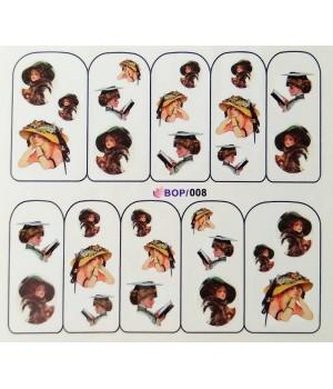 Слайдер дизайн для ногтей Девушка в шляпе
