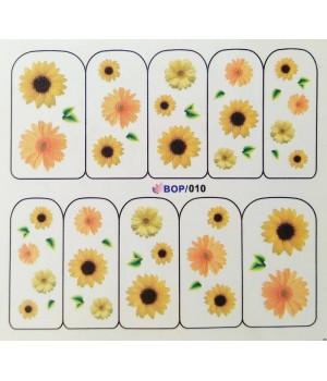 Слайдер дизайн для ногтей Жёлтые цветы