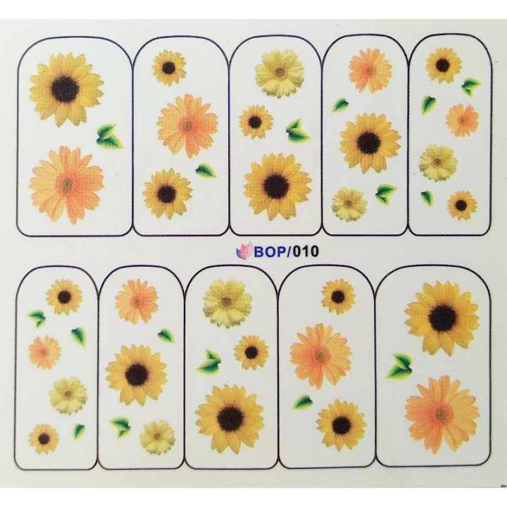 Слайдер дизайн для украшения ногтей Жёлтые цветы