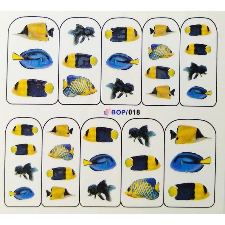 Слайдер дизайн для украшения ногтей Синие морские рыбки