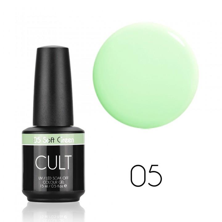 Мятный гель лак для ногтей Cult №05 Soft Green
