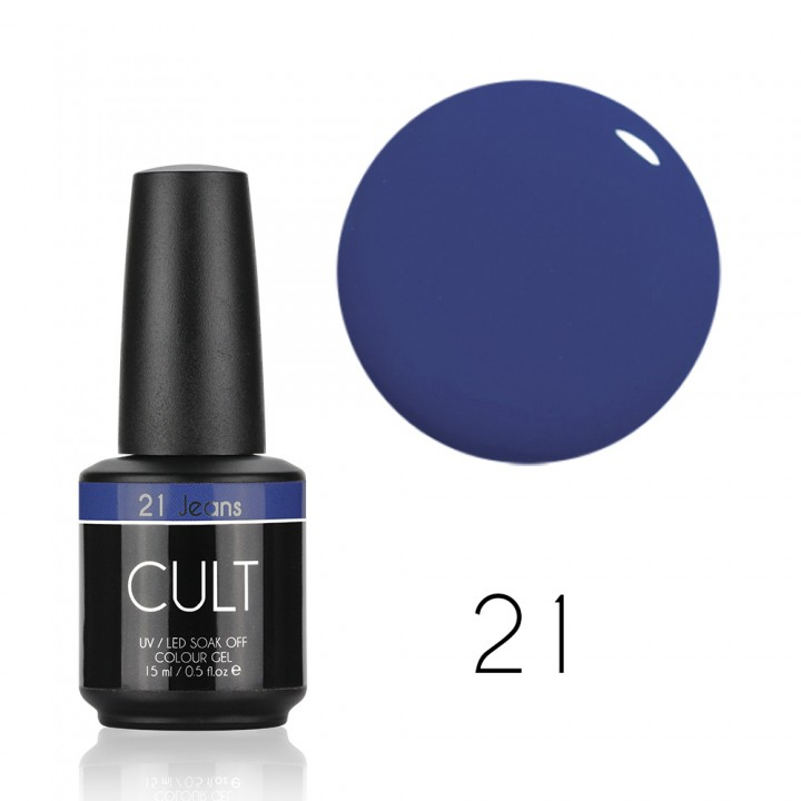 Синий джинсовый гель лак для ногтей Cult №21 Jeans