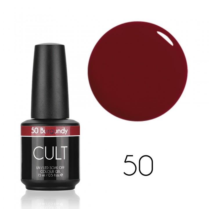 Тёмно красный гель лак для ногтей Cult №50 Burgundy