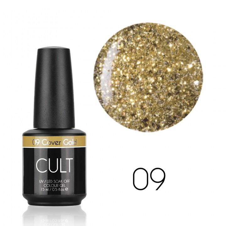 Золотые блёстки гель лак для ногтей Cult №09 Golden Cover