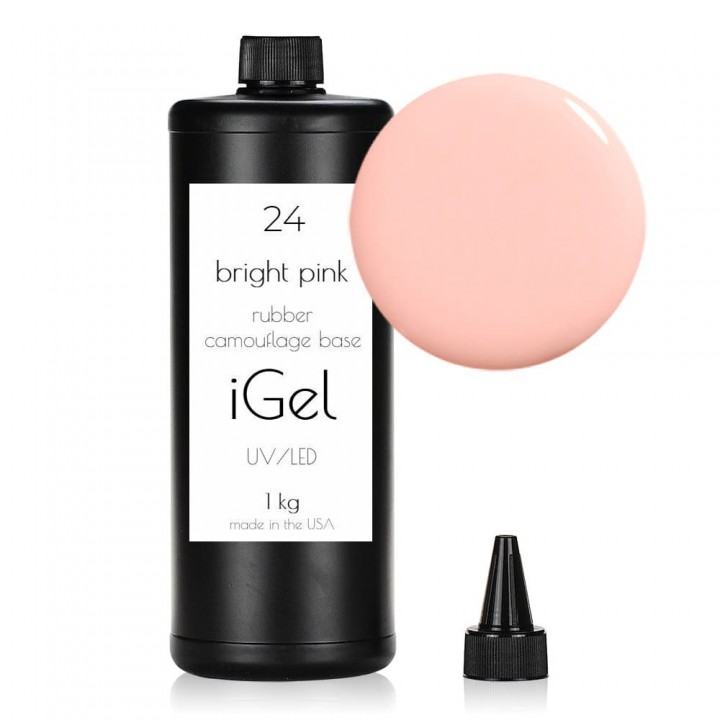 Каучуковая камуфлирующая база для покрытия ногтей iGel Bright Pink №24 1 кг