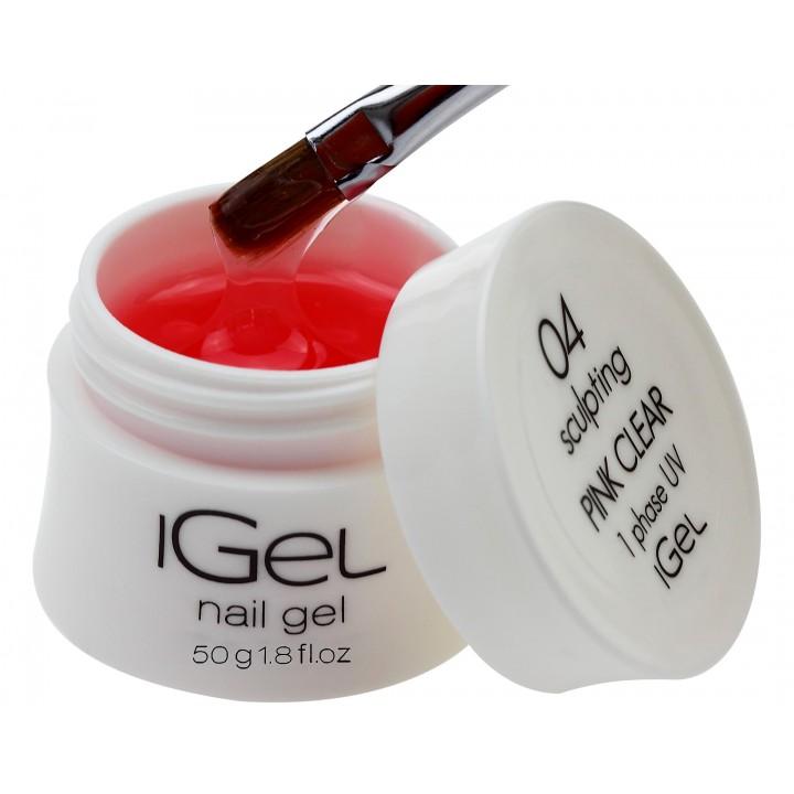Прозрачно розовый гель для наращивания ногтей iGel Pink Clear 50 гр №04