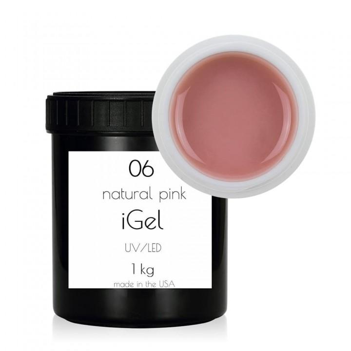 Натурально розовый гель для наращивания ногтей iGel Natural Pink №06 1 кг