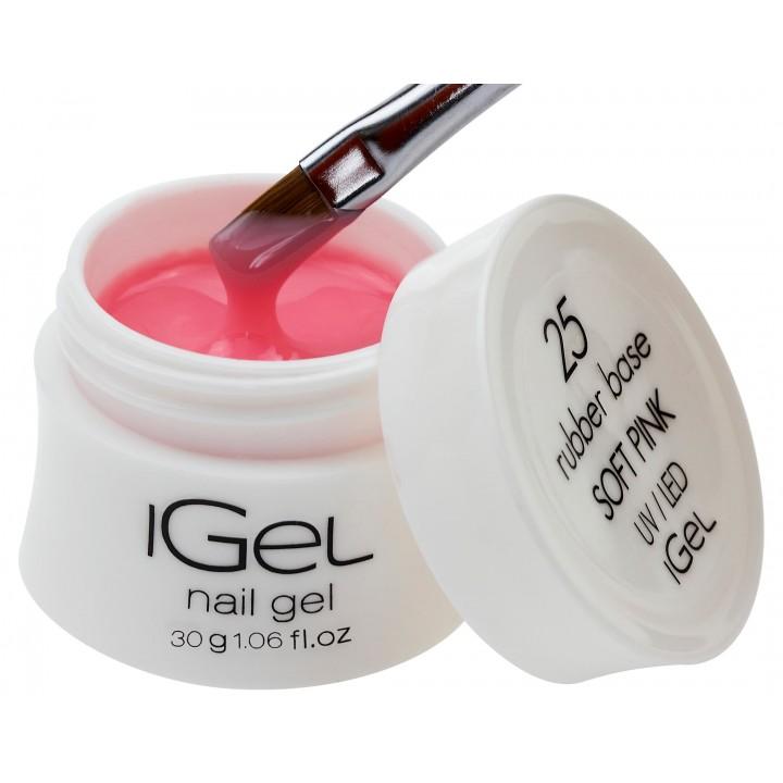 Каучуковая камуфлирующая база для покрытия ногтей iGel Soft Pink №25 30 гр
