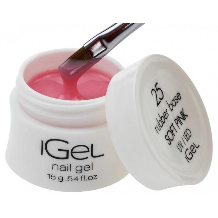 Каучуковая камуфлирующая база для покрытия ногтей iGel Soft Pink №25 15 гр