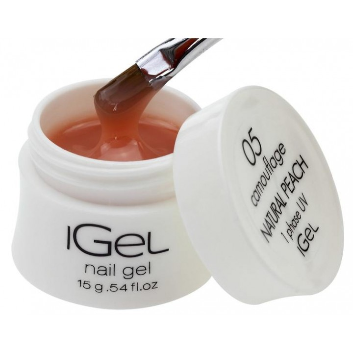 Натурально персиковый гель для наращивания ногтей iGel Natural Peach №05 15 гр