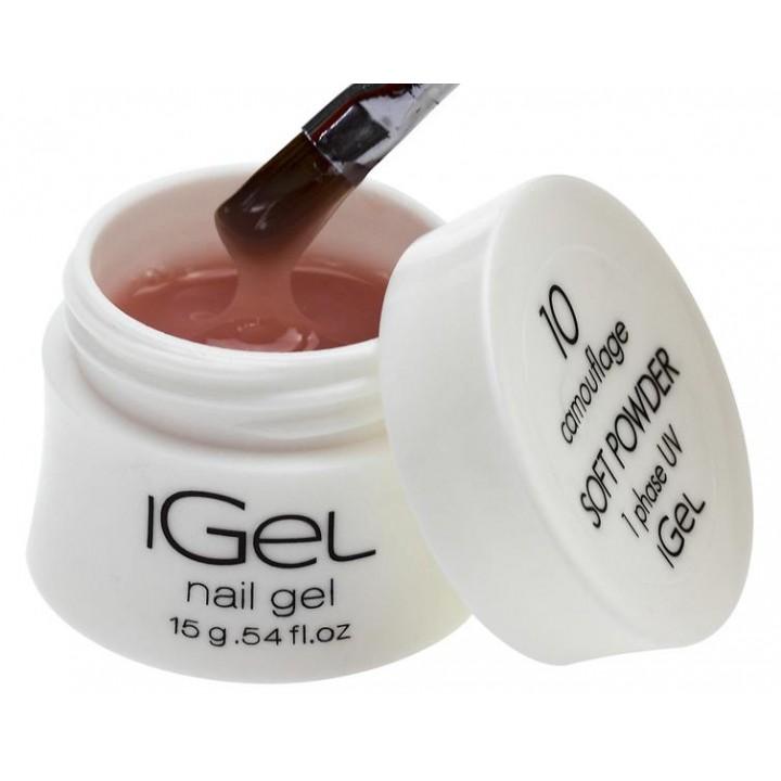 Нежно пудровый гель для наращивания ногтей iGel Soft Powder №10 15 гр