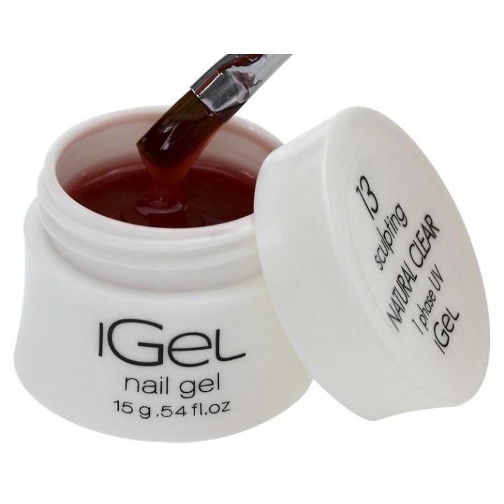 Прозрачно натуральный гель для наращивания ногтей iGel Natural Clear №13 15 гр