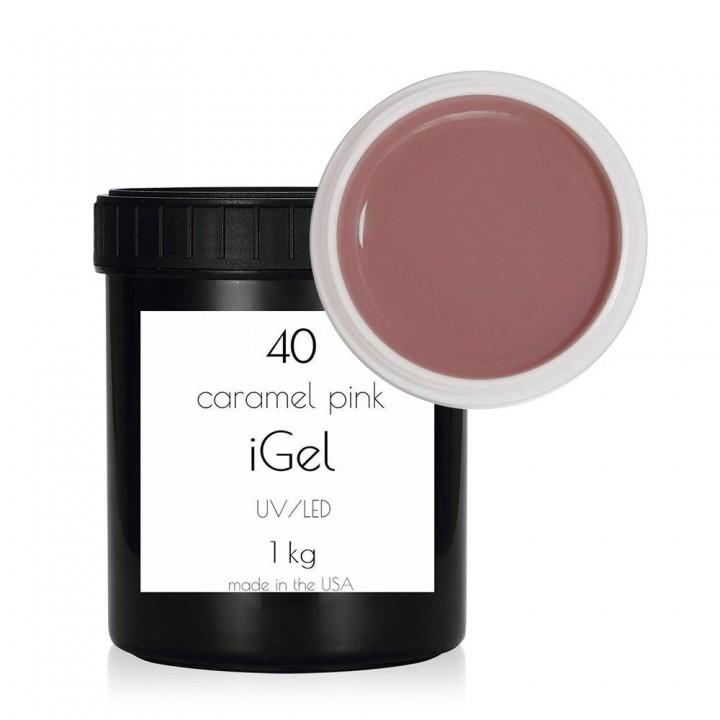 Карамельно розовый гель для наращивания ногтей iGel Caramel Pink №40 1 кг