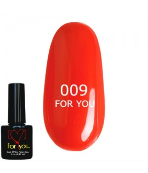 Гель лак Оранжево Красный FOR YOU № 009