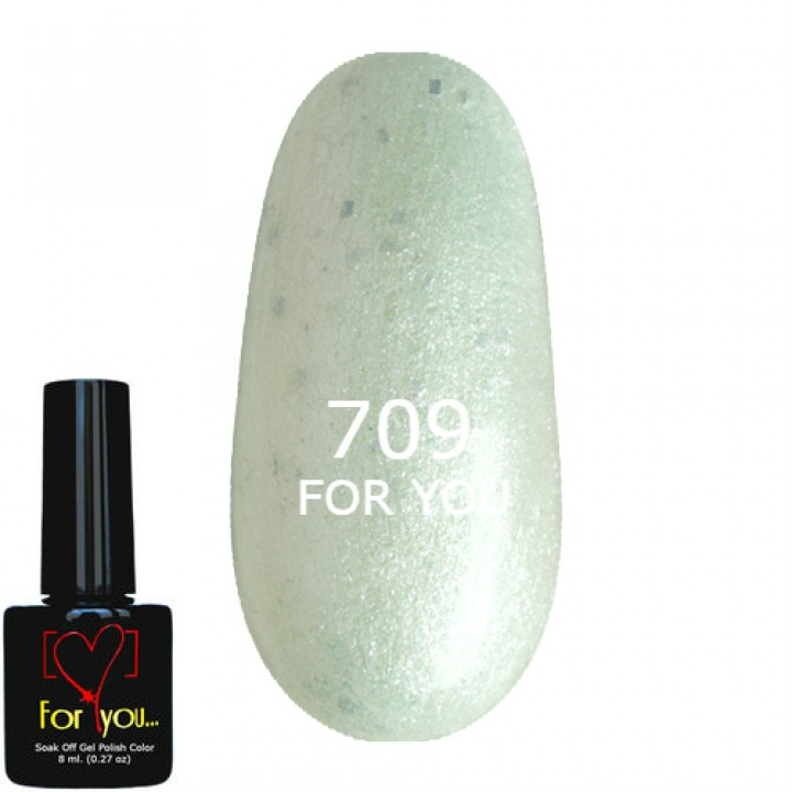 Гель лак для ногтей Жемчужно Зеленый с шиммером FOR YOU № 709