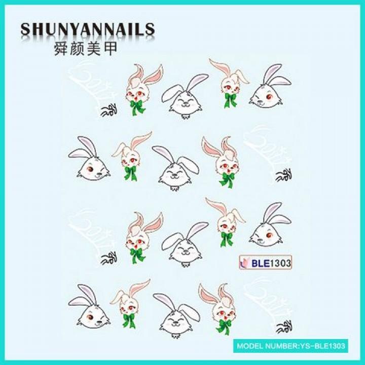 Слайдер дизайн для украшения ногтей Зайчик, кролик с бантиком