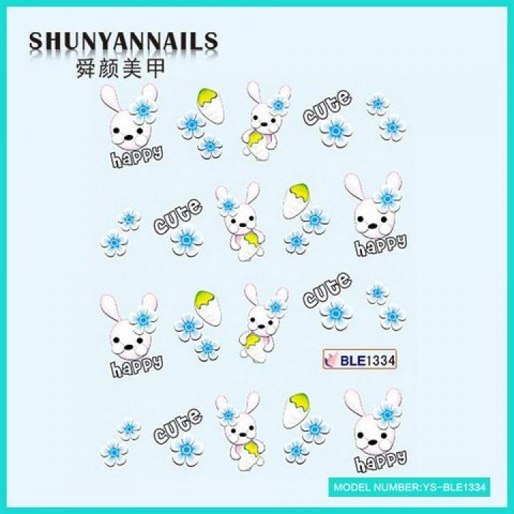 Слайдер дизайн для украшения ногтей Зайчик, кролик, голубые цветы