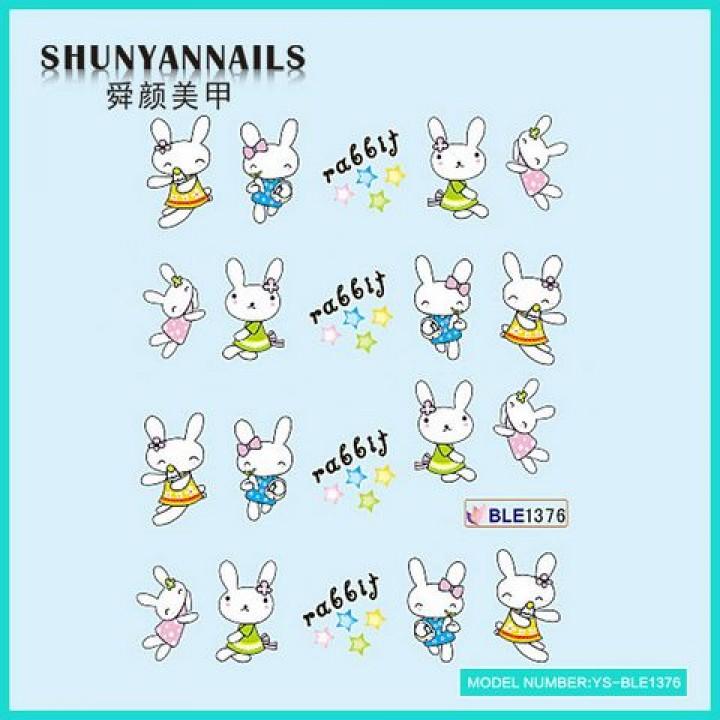 Слайдер дизайн для украшения ногтей Животные, зайчата