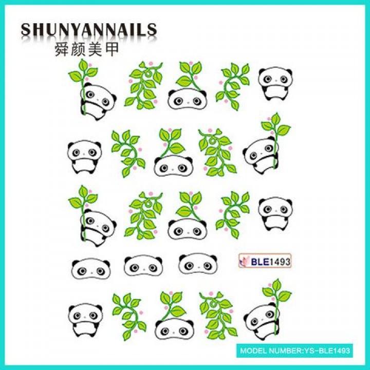 Слайдер дизайн для украшения ногтей Панда, листья