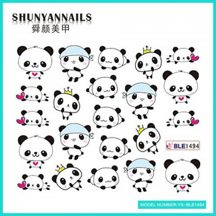 Слайдер дизайн для украшения ногтей Панда, сердечки, корона