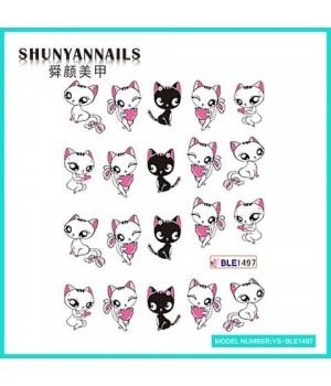 Слайдер дизайн для ногтей Кошки, мультики, сердечки