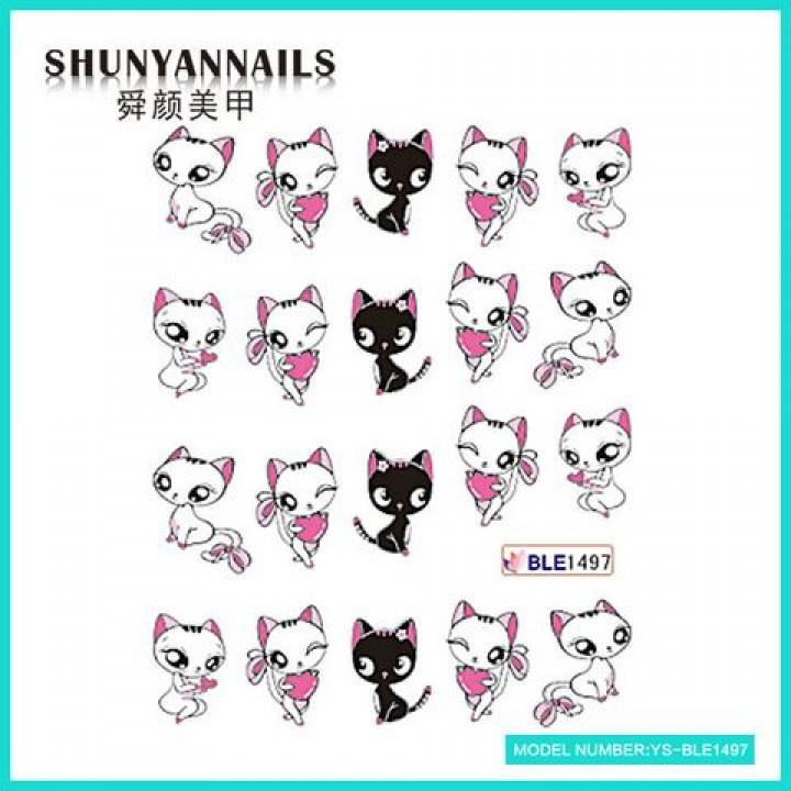 Слайдер дизайн для украшения ногтей Кошки, мультики, сердечки