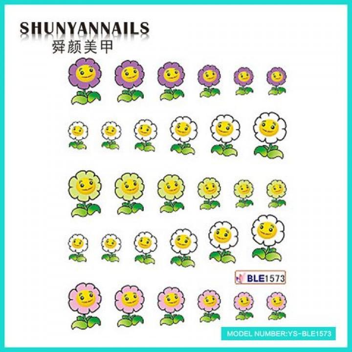 Слайдер дизайн для украшения ногтей Цветы-смайлы