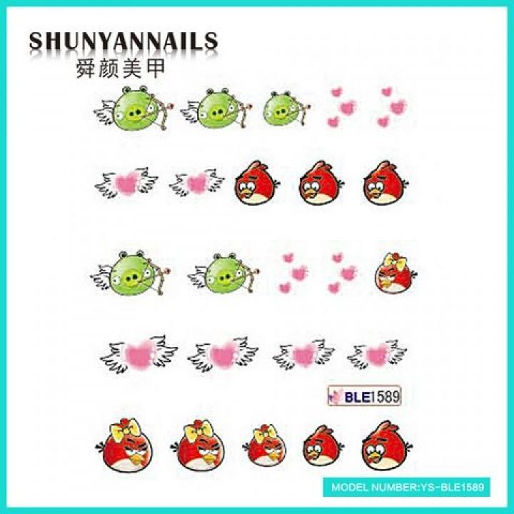 Слайдер дизайн для украшения ногтей Птицы, Angry Birds, сердечки