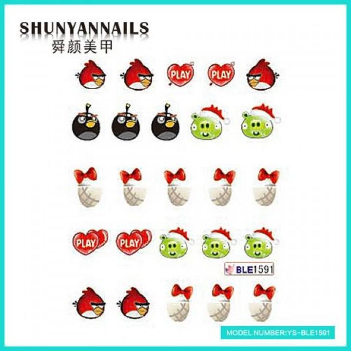 Слайдер дизайн для украшения ногтей Птицы, Angry Birds, сердечки, бантики