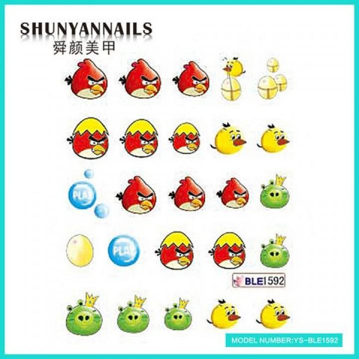 Слайдер дизайн для украшения ногтей Птицы, Angry Birds, яйцо, шарики
