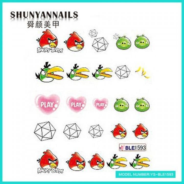 Слайдер дизайн для украшения ногтей Сердечки, Angry Birds