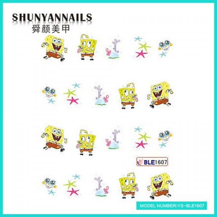 Слайдер дизайн для украшения ногтей Мультяшки, Губка Боб, Sponge Bob, звездочки