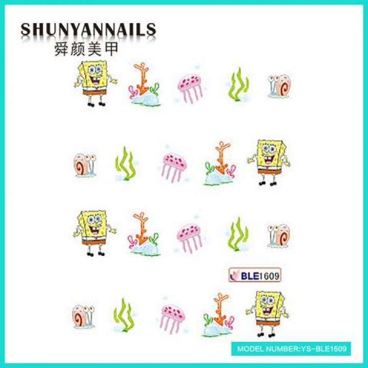 Слайдер дизайн для украшения ногтей Губка Боб, Sponge Bob, мультяшки