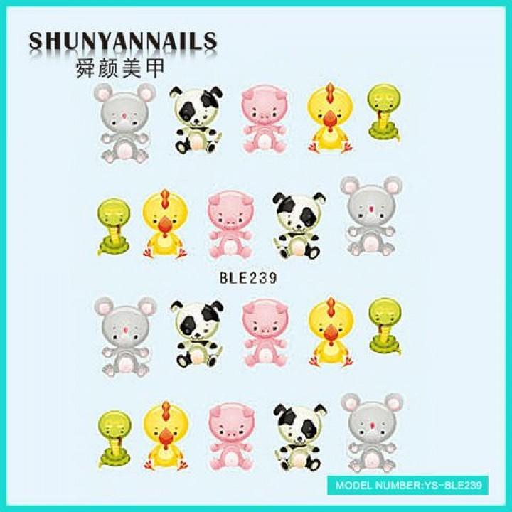 Слайдер дизайн для украшения ногтей Животные, мышка,собачка, поросенок, цыпленок