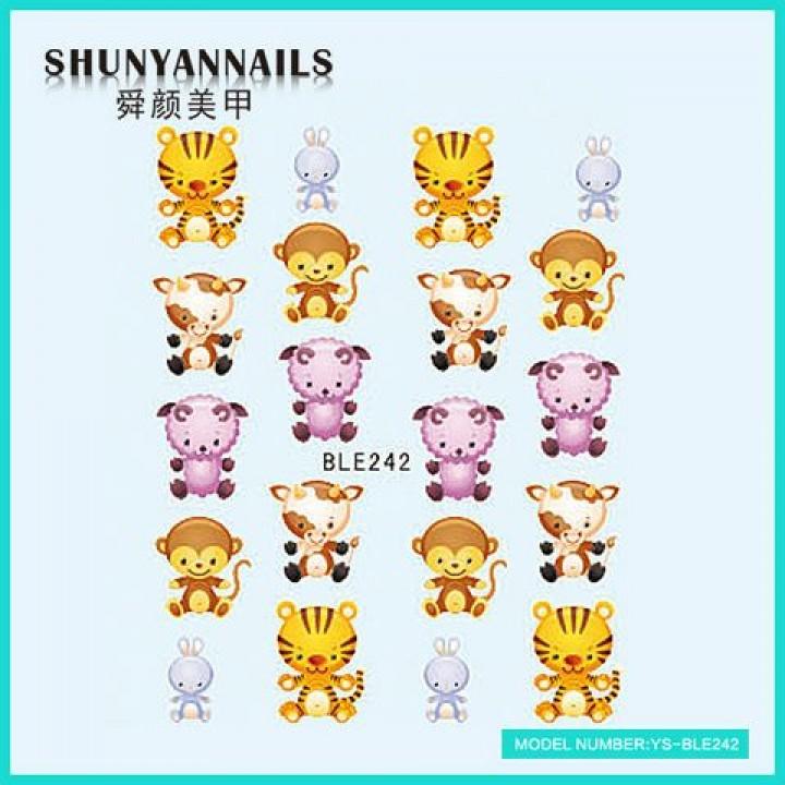 Слайдер дизайн для украшения ногтей Животные, тигр, обезьяна, овечка