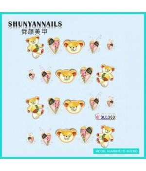 Слайдер дизайн для ногтей Животные, мишка, сердечки
