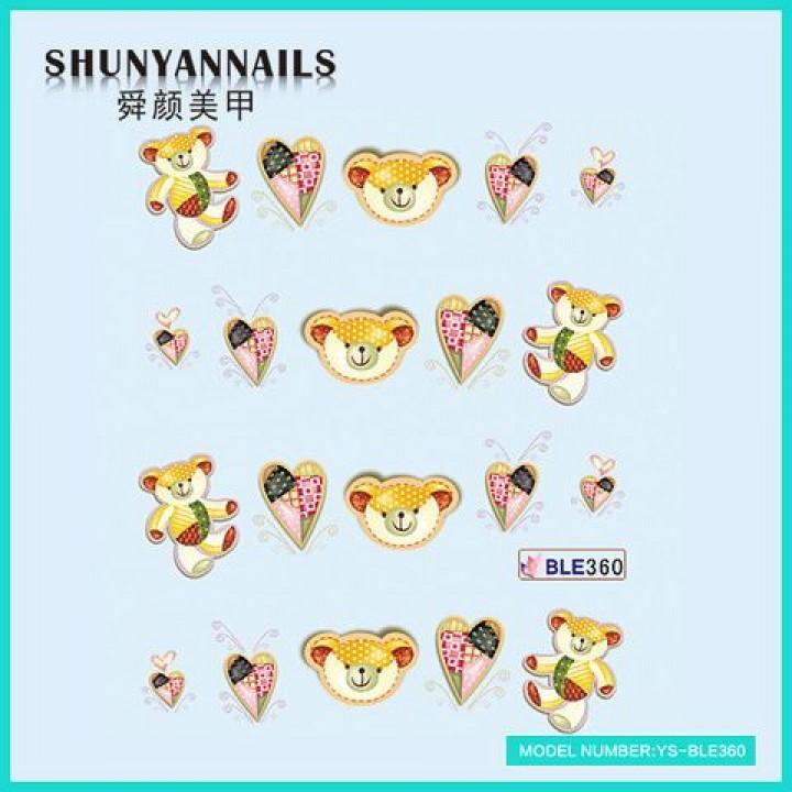 Слайдер дизайн для украшения ногтей Животные, мишка, сердечки