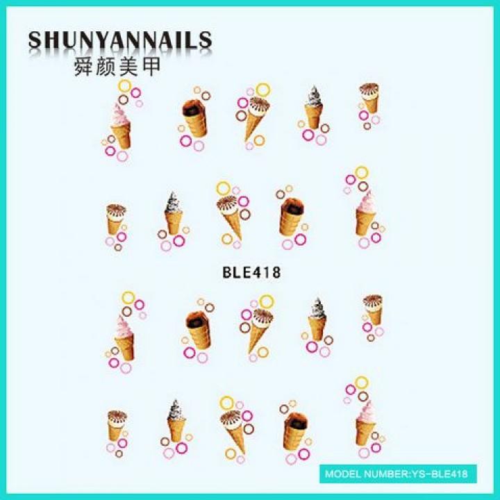 Слайдер дизайн для украшения ногтей Мороженное