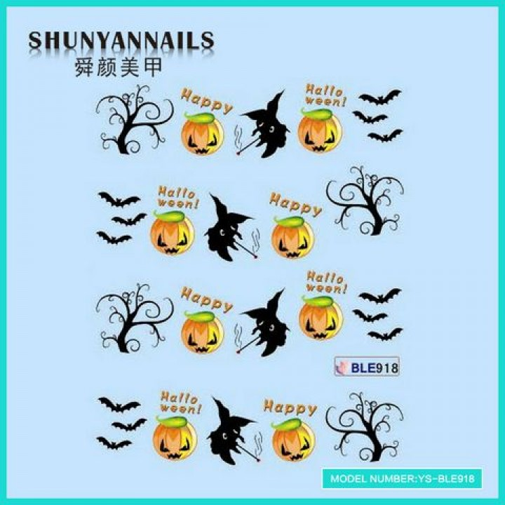 Слайдер дизайн для украшения ногтей Хэллоуин, летучая мышь, деревья