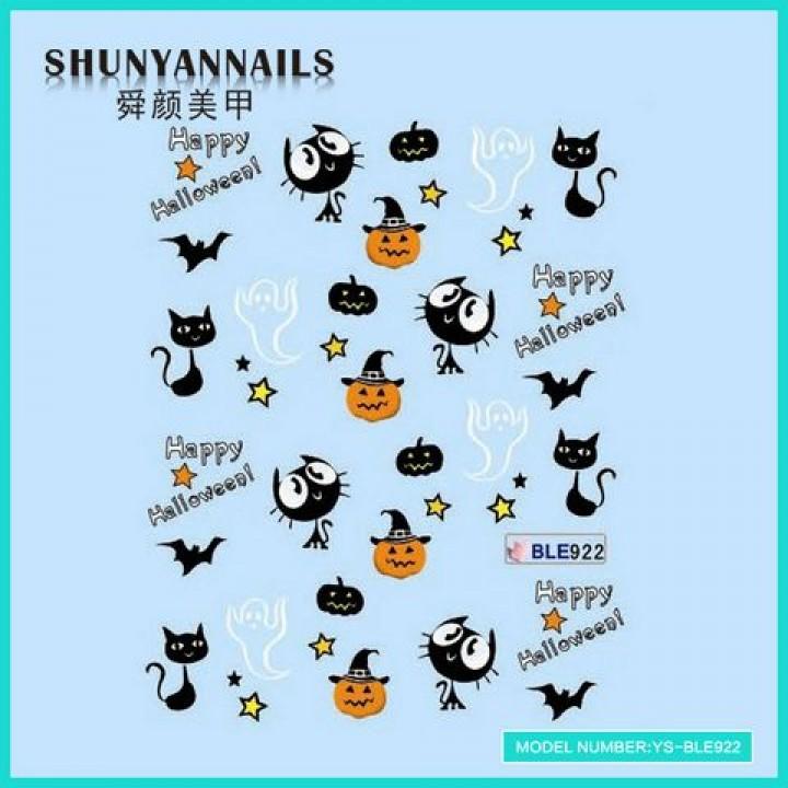 Слайдер дизайн для украшения ногтей Хеллоуин, кошки, летучья мышь, привидения