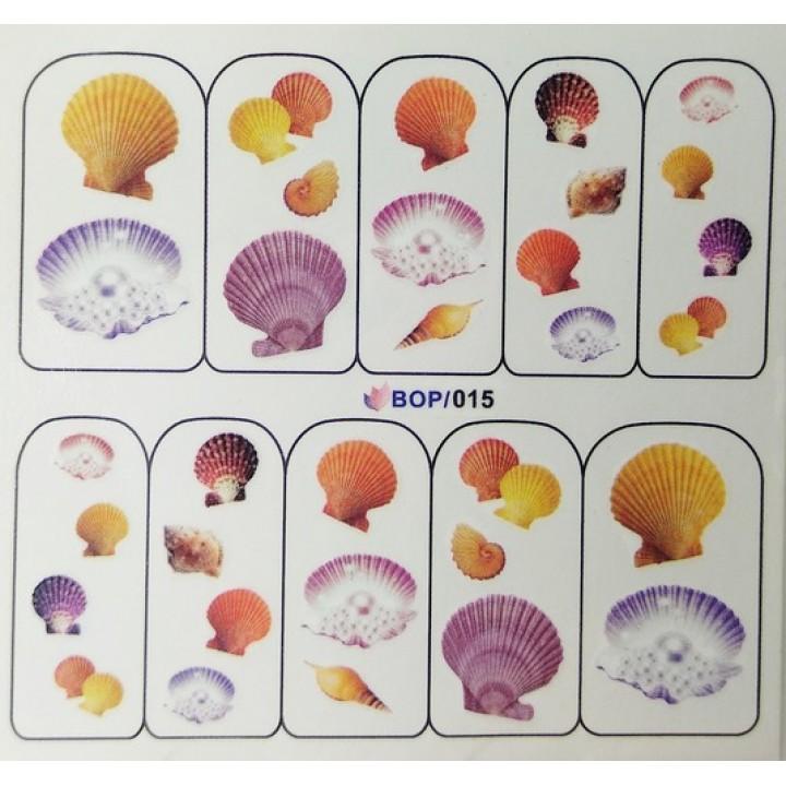 Слайдер дизайн для украшения ногтей Морские ракушки