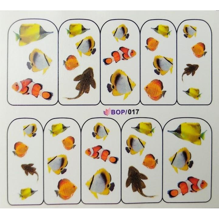 Слайдер дизайн для украшения ногтей Морские рыбки