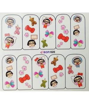 Слайдер дизайн для ногтей Девочка, мишка, бантики