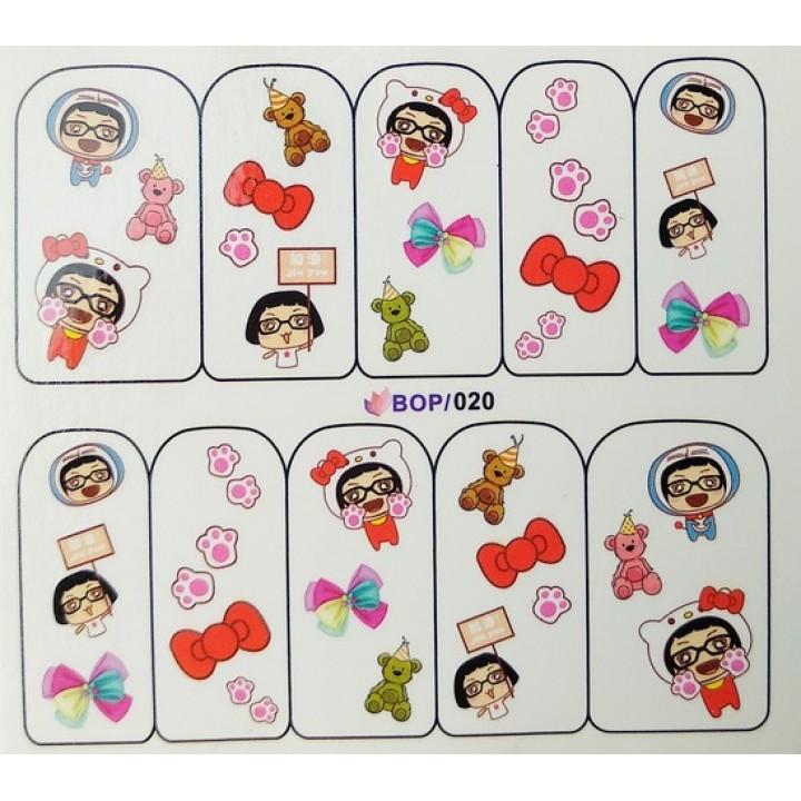 Слайдер дизайн для украшения ногтей Девочка, мишка, бантики
