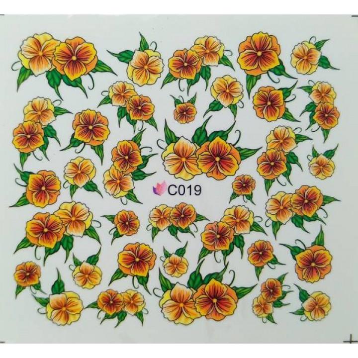 Слайдер дизайн для украшения ногтей Цветы оранжево-коричневые