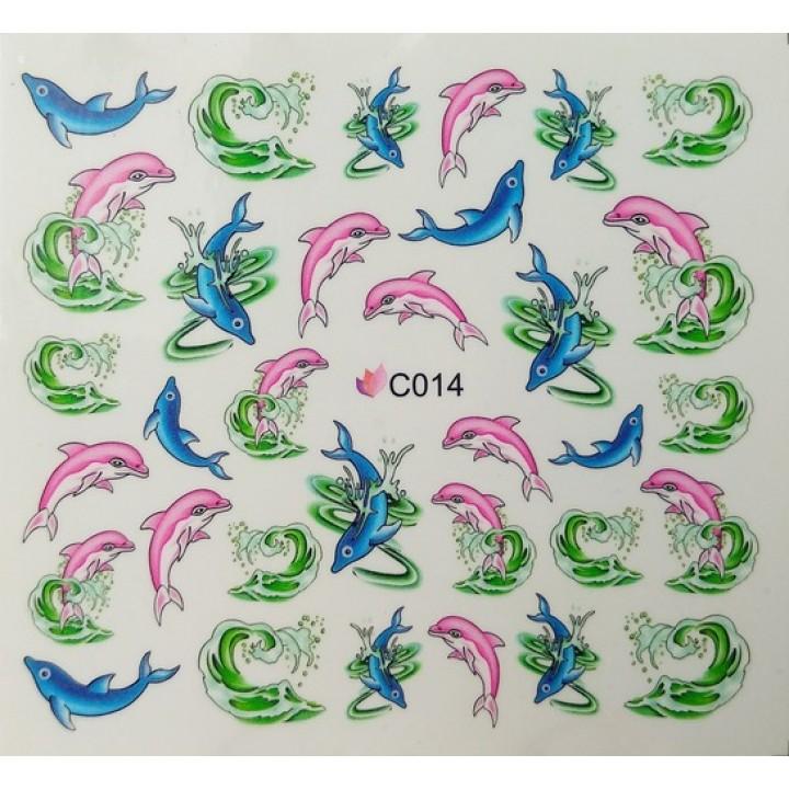Слайдер дизайн для украшения ногтей Рыбки, голубые и розовые дельфины