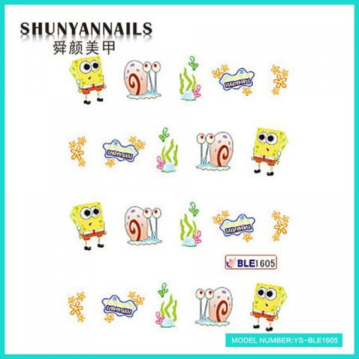 Слайдер дизайн для украшения ногтей Мультяшки, Губка Боб, Sponge Bob