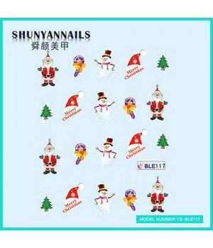 Слайдер дизайн для ногтей Новогодние, Дед Мороз, Санта Клаус, елка