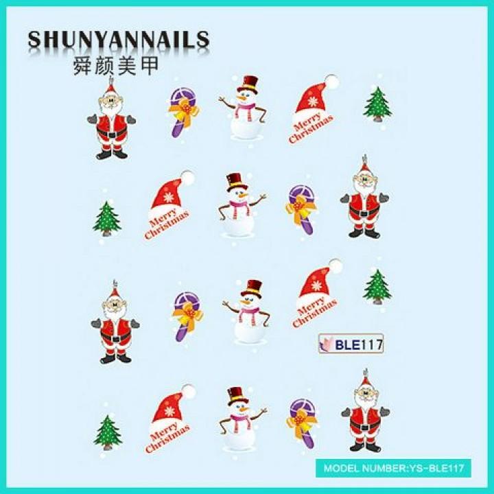 Слайдер дизайн для украшения ногтей Новогодние, Дед Мороз, Санта Клаус, елка
